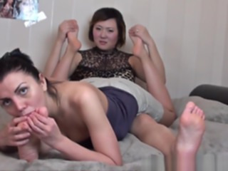 Dirty Russian MILF made me lick her sexy lesbian toes in bed amateur asian fetish